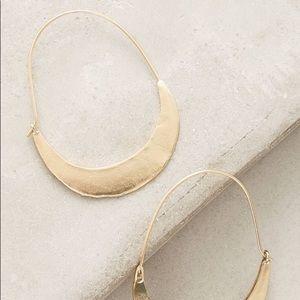Anthropologie Crescent Gold Hoop Simple Earrings